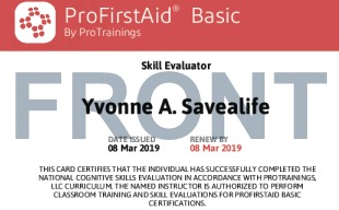 Sample ProFirstAid Basic Skill Evaluator Card Front
