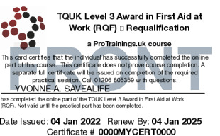Sample TQUK Level 3 Award in First Aid at Work (RQF) – FAEW Requalification  (Blended Learning Module)  Card Front