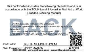 Sample TQUK Level 3 Award in First Aid at Work (RQF) – FAEW Requalification  (Blended Learning Module)  Card Back