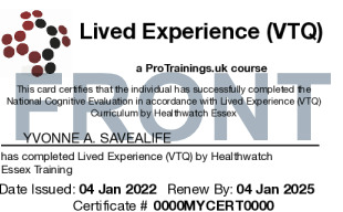 Sample Lived Experience (VTQ) Card Front