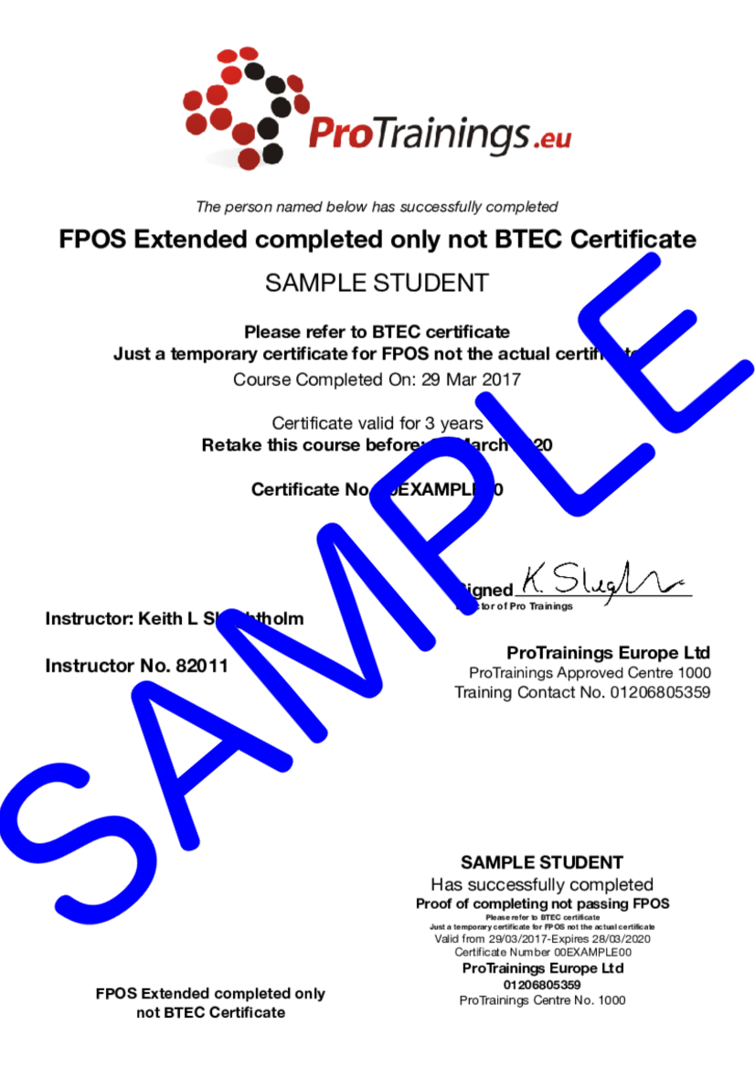 Sample BTEC Level 4 Certificate for First Person on Scene (RQF) Blended Part Two - FPOS Classroom Certificate