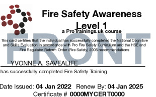 Sample Fire Safety Awareness Level 1 Card Front
