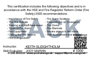 Sample Fire Safety Awareness Level 1 Card Back