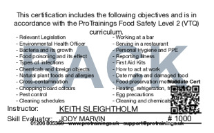 Sample Food Safety Level 2 Card Back