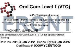 Sample Oral Care Level 1 (VTQ) Card Front