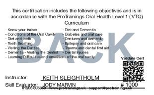 Sample Oral Care Level 1 (VTQ) Card Back