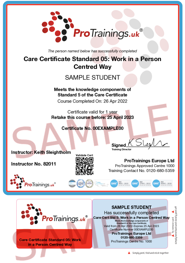 Sample Care Certificate Standard 05: Work in a Person Centred Way Classroom Certificate