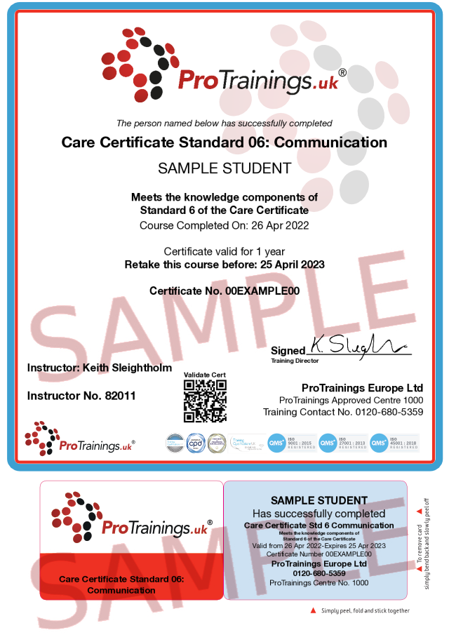 Sample Care Certificate Standard 6: Communication  Classroom Certificate