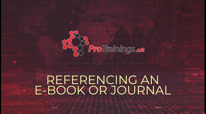 Referencing an e-Book or Journal