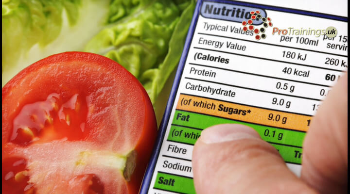 Labelling of nutritional information