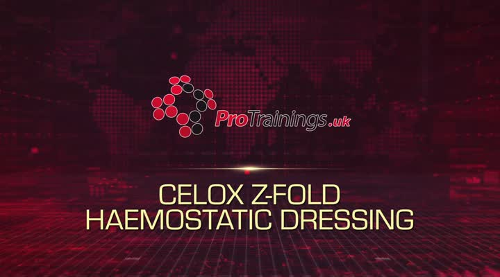 Packing a wound with Celox Z Fold haemostatic dressing