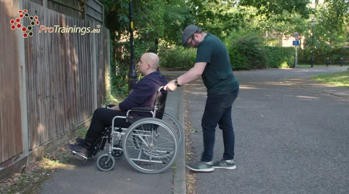 Using manual wheelchairs on slopes and curbs