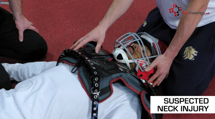 Suspected neck injury and helmet removal