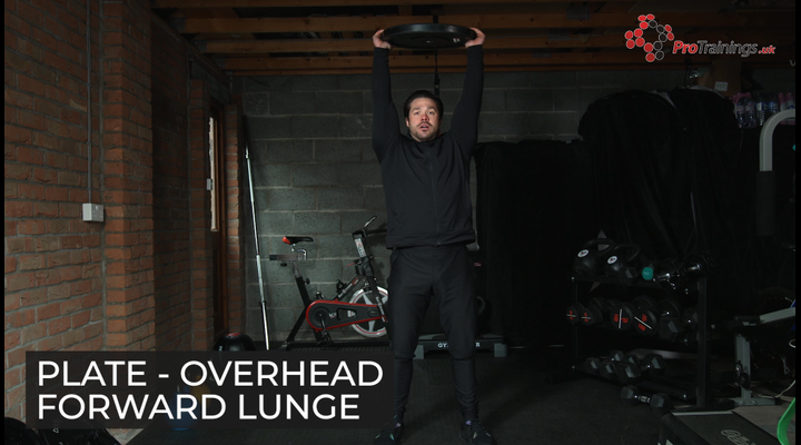 Weight plate - Overhead forward lunge