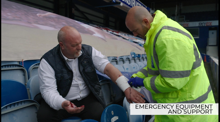 What emergency equipment and professional help is available at events?