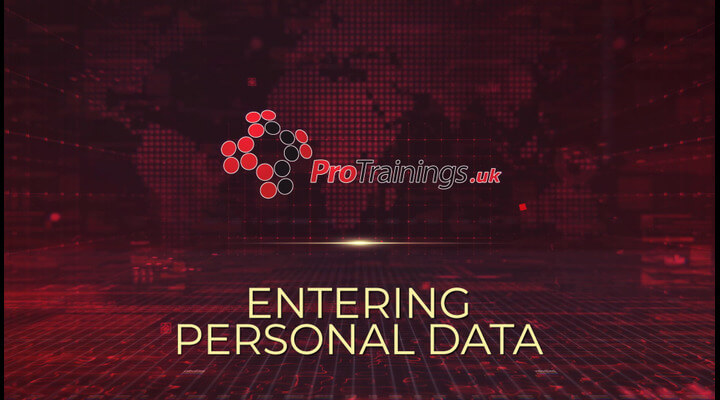 Entering your personal data on a website